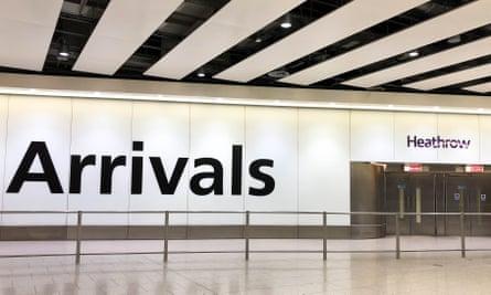 Empty arrivals hall at Heathrow airport, UK.