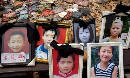 Photographs of missing children in the rubble after the 2008 Sichuan earthquake.