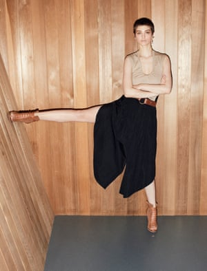 Pared down at ChloéTop, £440, trousers, £970, shoes, £880, and earring, £260, by Chloé (chloe.com)