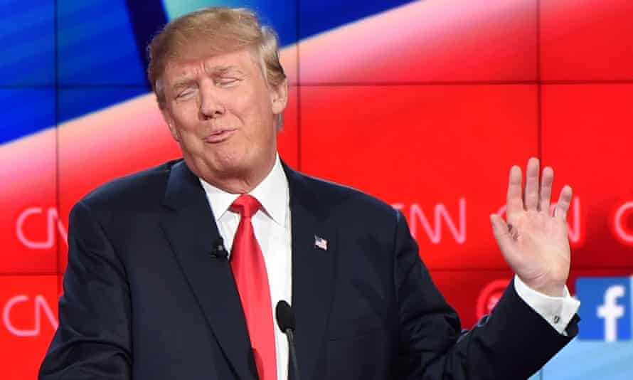 'He can make America great again one bellboy at a time' ... Donald Trump gestures during the Republican Presidential Debate in Las Vegas.