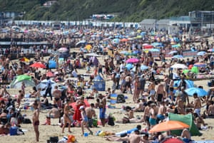 Bournemouth, England The beach is packed as the temperature in the coastal resort town climbs to 22C in mid-afternoon
