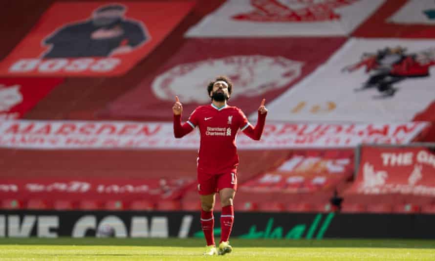 Mohamed Salah celebrates his equaliser.