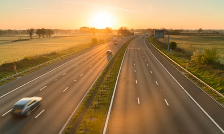 A British motorway at sunrise. 'A well-constructed tweet will never provide the satisfaction of a reconstructed gearbox'