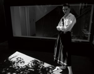 Shirt, £400, and skirt, £740, by Y's. Socks from a selection by Harry Evans.
