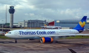 A Thomas Cook plane at Manchester airport.