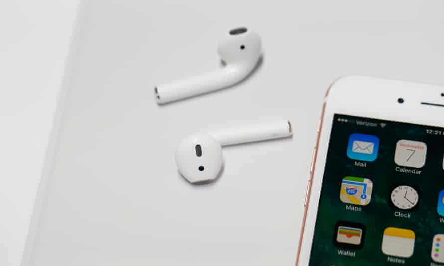 A pair of the new Apple AirPods are seen during a launch event on 7 September 2016 in San Francisco, California.