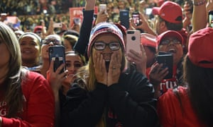 Trump supporters cheer during a rally in El Paso, Texas, on Monday.