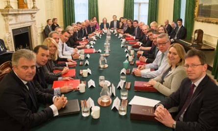 Theresa May leading her first post-reshuffle cabinet meeting on Tuesday