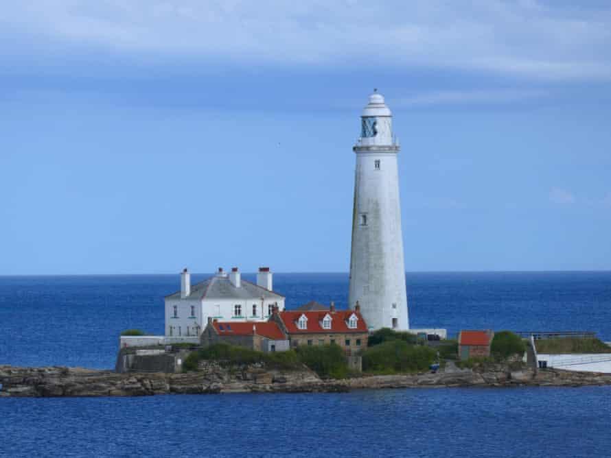 St Mary's lighthouse, Northumberland coast, UK.