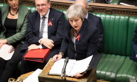 Theresa May addresses the Commons during a heated prime minister's questions