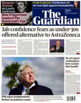 Guardian front page 8 April.