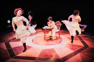 Mariam Haque (centre) as Diana in Diana of Dobson's by Cicely Hamilton.
