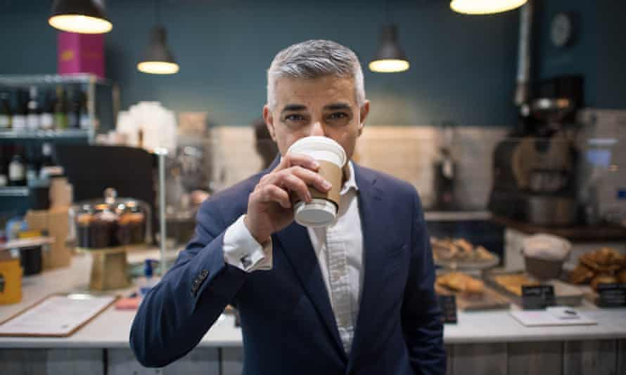 The mayor of London, Sadiq Khan, at the Hot Milk cafe in north London, for the launch of his re-election campaign.