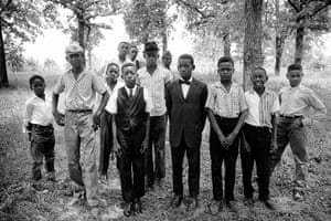 Young men and boys in their Sunday best outside a church in Valley View, Mississippi, in the summer of 1964