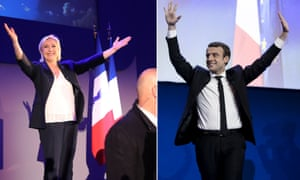 Independent centrist Macron estimated to have taken 23.7% of vote with National Front leader Le Pen on 21.7%; official results to follow