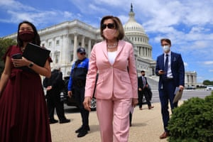 The Speaker of the House, Nancy Pelosi, arrives for a news conference on infrastructure outside the Capitol. Pelosi met Joe Biden and her Republican counterparts earlier in the day to discuss his infrastructure plan