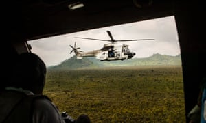 UN helicopter in Congo