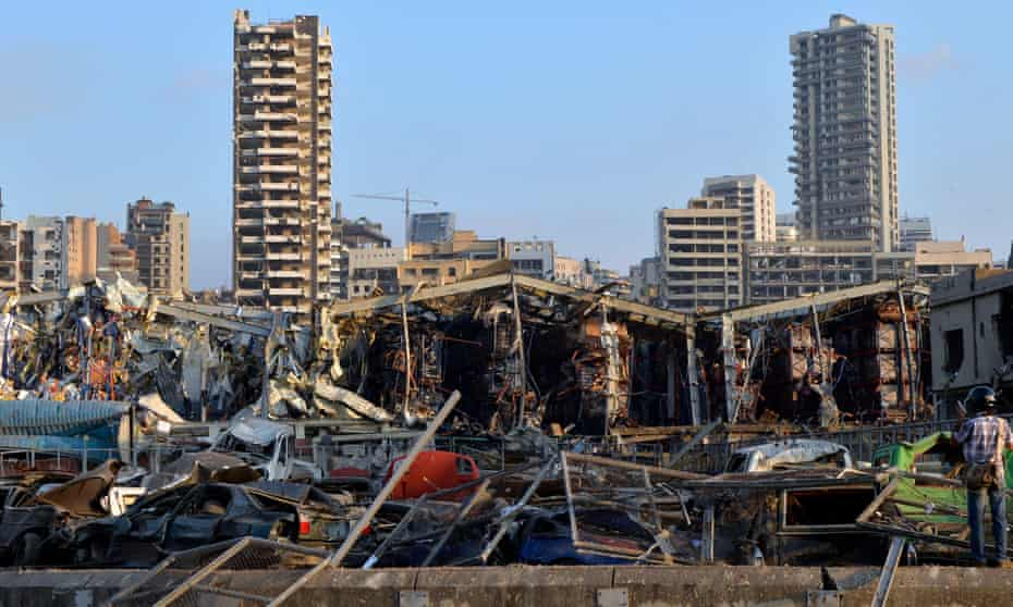 The severely damaged harbour area in Beirut