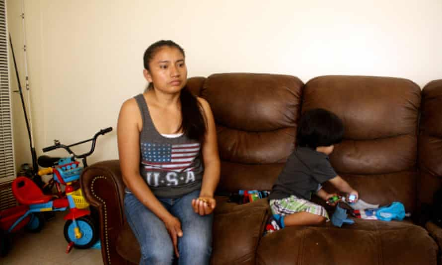 Nuvia Perez, 37, and her two-year-old son Andy Perez, 2, in their home at Jordan Downs.
