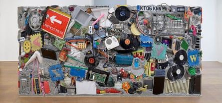 New build … the latest Garbage Wall, at the London exhibition.