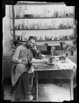 Self-portrait, taken by Cajal in his laboratory in Valencia when he was in his early thirties, c. 1885.