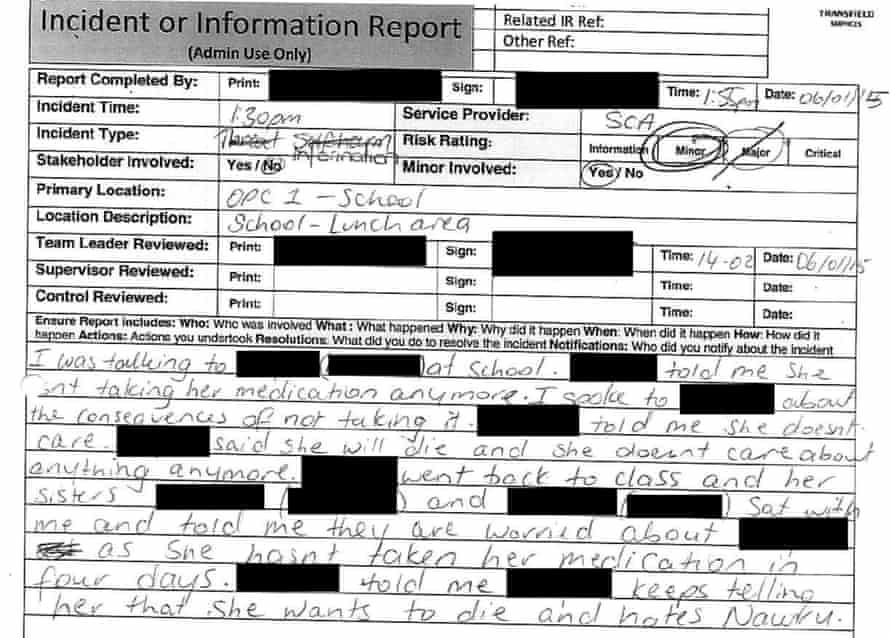 An incident report from the Nauru files