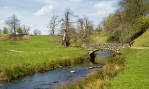 Passerelle où la rivière Skell dans le parc Studley Royal