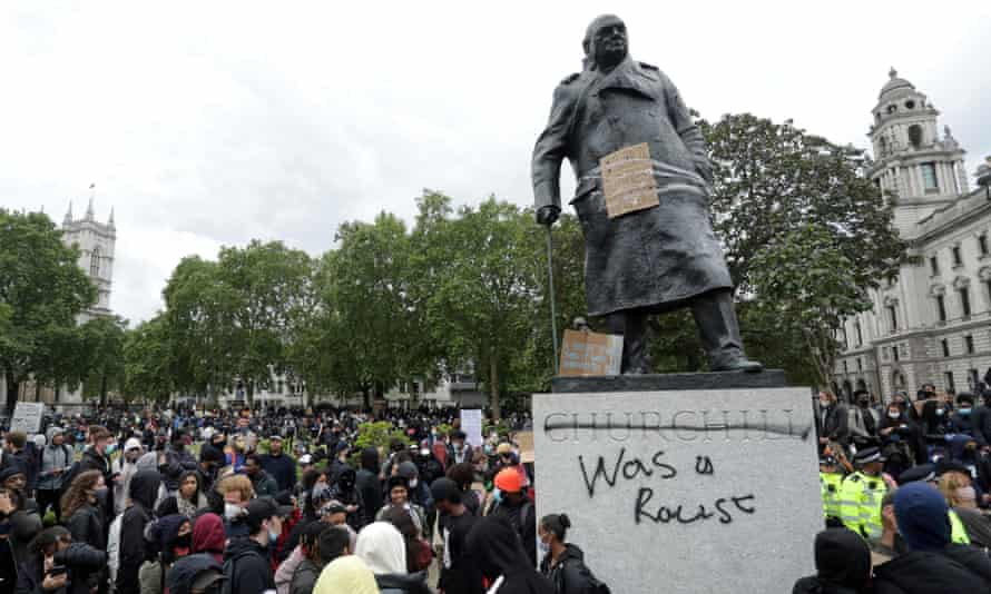 A statue of Winston Churchill defaced during a Black Lives Matter protest in London last summer.