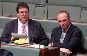 The deputy PM, Barnaby Joyce, and the member for Dawson, George Christensen, after question time