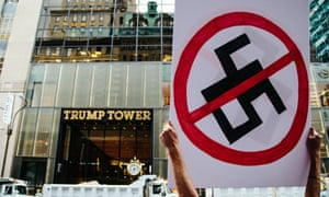 Protesters outside Trump Tower expressed anger at Trump's handling of the attack in Charlottesville by a white supremacist.