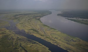 An aerial view of the Congo River on the outskirts of Mbandaka