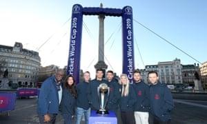 Clive Lloyd, Noreen Khan, Graeme Swann, James Anderson, Alastair Cook, Rebecca Adlington, Chris Hughes and Harry Judd line up in Trafalgar Square.