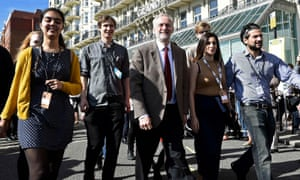 Jeremy Corbyn and supporters in Brighton