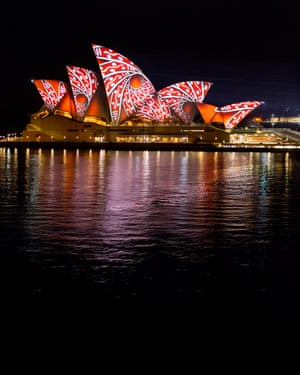 Australia's ancient songlines have been woven across the sails of the Sydney Opera House.
