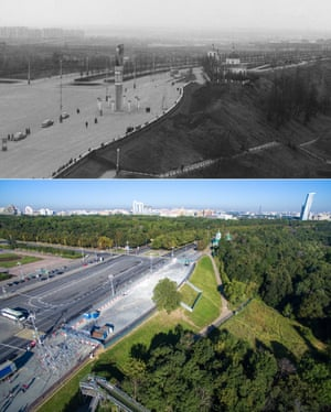 <strong>1967</strong><br>A view point on Lenin Hills and the Trinity Church, 1967. By 2015, the hills have been renamed Sparrow hills. Moscow Russia