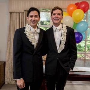 Freddy Grant and Burton Reynolds at their Melbourne wedding on 19 August 2016