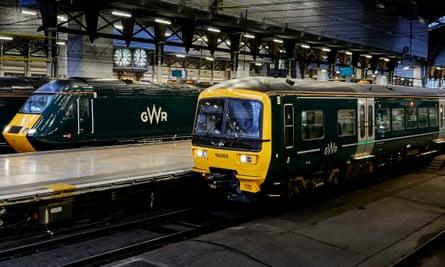 Great Western Railway trains at Paddington station, London.