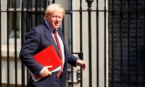 Boris Johnson, the foreign secretary, arriving for cabinet this morning.