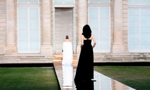The Hepburn-esque black dress was updated with a crossed back and monastic black hood at Givenchy's autumn 2018 show