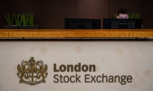 A reception desk at the London Stock Exchange.