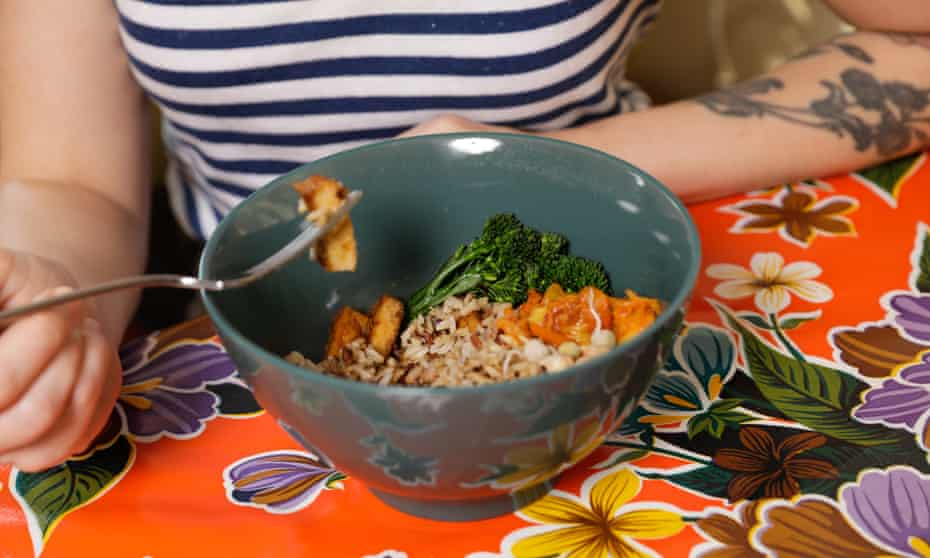 'Three things in a bowl': the rice, greens and tofu that Jane Newton has been eating variations of for lunch every day for eight years.