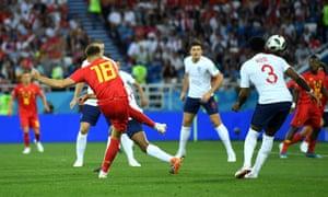 Belgium's Adnan Januzaj scores their first goal past England's Jordan Pickford