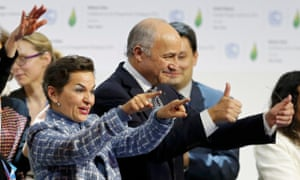 Former UN climate chief Christiana Figueres with President-designate of COP21 Laurent Fabius, at the Paris summit in 2015.