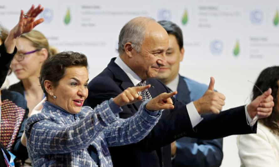 Former UN climate chief Christiana Figueres with President-designate of COP21 Laurent Fabius, at the Paris summit in 2015.