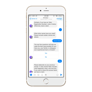 The DoNotPay chatbot shown on an iPhone.