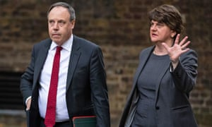 Arlene Foster and Nigel Dodds arrive in Downing Street for talks with Boris Johnson