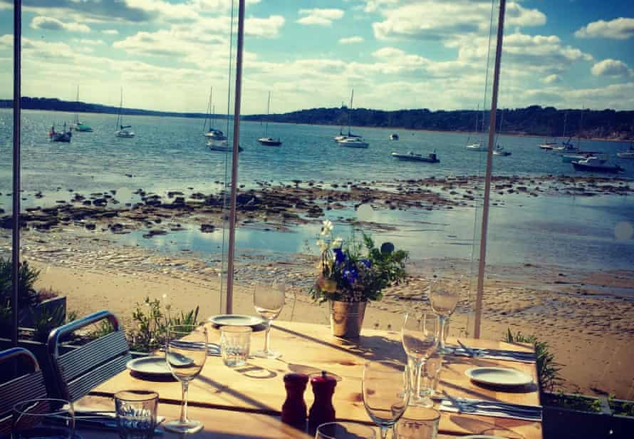 View of Poole harbour from Shell Bay Restaurant, Dorset