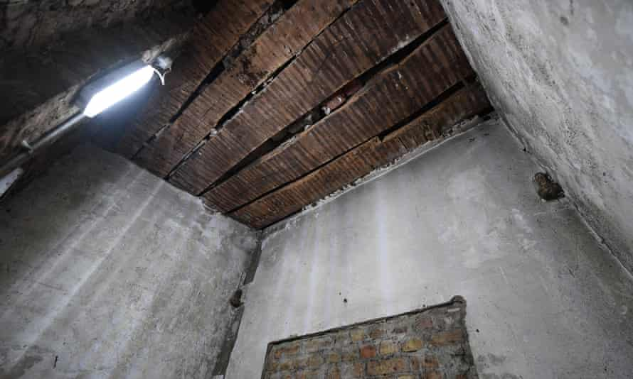 Inside the bricked-up room in the Commons.