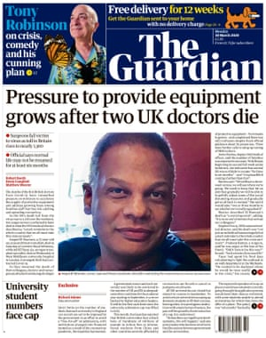Guardian front page, Monday 30 March 2020
