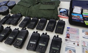 Equipment apparently linked to a plot to assassinate the Venezuelan president, seized from the alleged perpetrators by his armed forces.